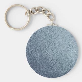 Leather blue background basic round button key ring