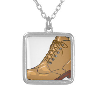 Leather Boot Sketch Silver Plated Necklace