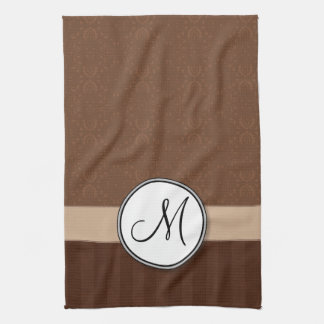 Leather Brown Damask with Stripes and Monogram Tea Towel