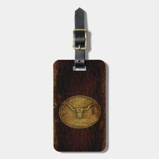 Leather Buckled Steer Luggage Tag
