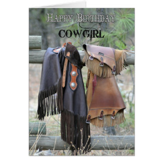 Leather Chaps Happy Birthday Cowgirl Card