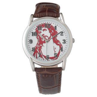 "Leather clock brown ""JESUS "" Watch"