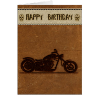 Leather effect biker birthday card