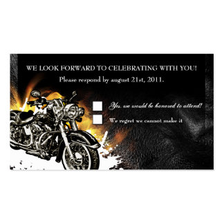 Leather & Flames Biker RSVP Reception card Pack Of Standard Business Cards