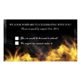 Leather Flames Biker RSVP Reception card Business Card Template
