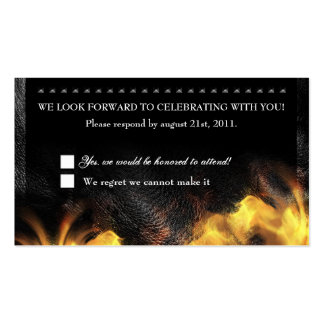 Leather Flames & Studs RSVP Reception card Business Cards