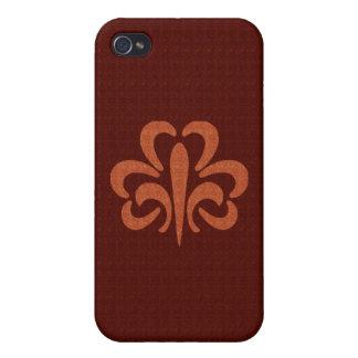 Leather Fleur de lis iPhone Case Cases For iPhone 4