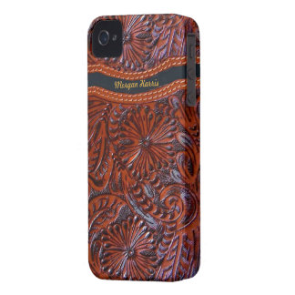 leather floral  iphone case-personalizable iPhone 4 case