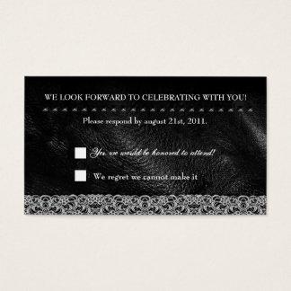 Leather Lace & Metal Studs RSVP Reception card