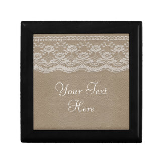 Leather & Lace Wedding Small Square Gift Box