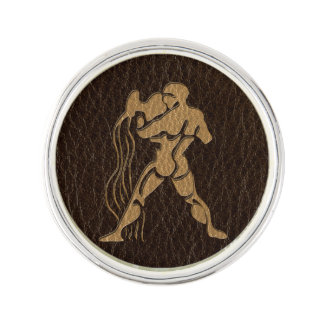 Leather-Look Aquarius Lapel Pin