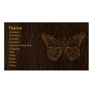 Leather-Look Butterfly Dark Business Cards