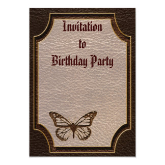"""Leather-Look Butterfly Dark 5"""" X 7"""" Invitation Card"""