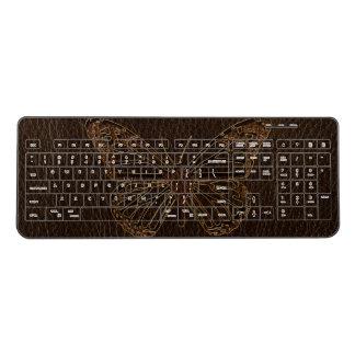 Leather-Look Butterfly Dark Wireless Keyboard