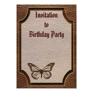 """Leather-Look Butterfly 5"""" X 7"""" Invitation Card"""