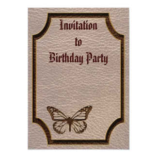 """Leather-Look Butterfly Soft 5"""" X 7"""" Invitation Card"""