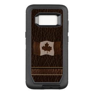 Leather-Look Canada Flag Dark OtterBox Defender Samsung Galaxy S8 Case