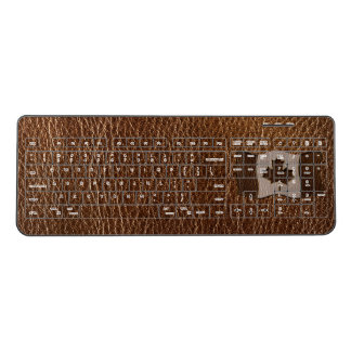 Leather-Look Canada Flag Wireless Keyboard