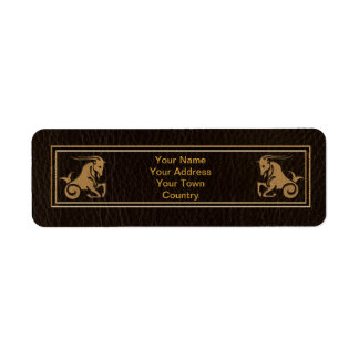 Leather-Look Capricorn Return Address Label
