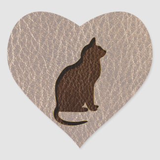Leather-Look Cat Soft Heart Sticker