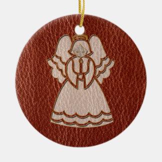 Leather-Look Christmas Angel Round Ceramic Decoration