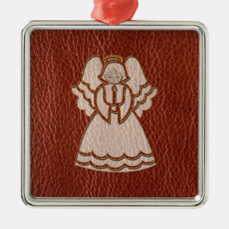 Leather-Look Christmas Angel Silver-Colored Square Decoration