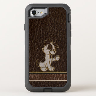 Leather-Look Dog Dark OtterBox Defender iPhone 8/7 Case