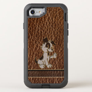 Leather-Look Dog OtterBox Defender iPhone 8/7 Case