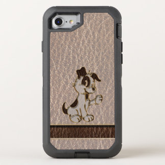 Leather-Look Dog Soft OtterBox Defender iPhone 8/7 Case