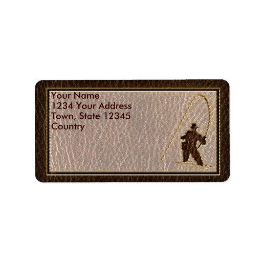 Leather-Look Fisherman Dark Address Label