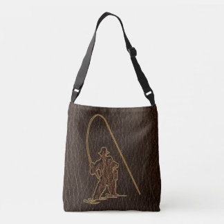 Leather-Look Fisherman Dark Crossbody Bag