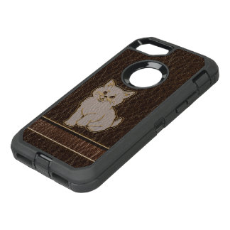 Leather-Look Kitten Dark OtterBox Defender iPhone 8/7 Case