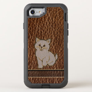 Leather-Look Kitten OtterBox Defender iPhone 8/7 Case