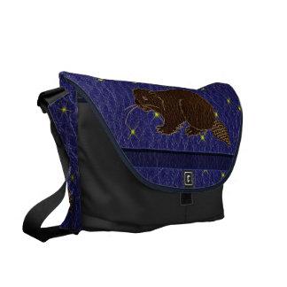 Leather-Look Native American Zodiac Beaver Commuter Bag