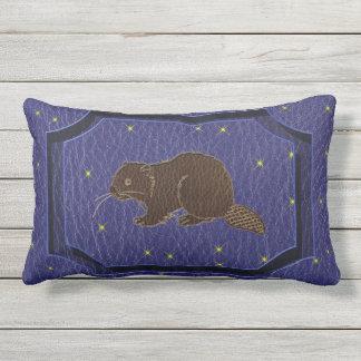 Leather-Look Native American Zodiac Beaver Lumbar Pillow