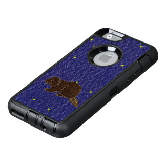 Leather-Look Native American Zodiac Beaver OtterBox Defender iPhone Case