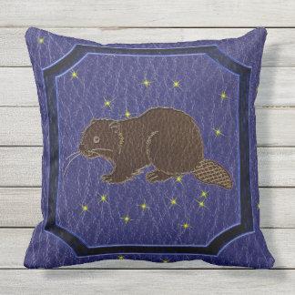 Leather-Look Native American Zodiac Beaver Throw Pillow