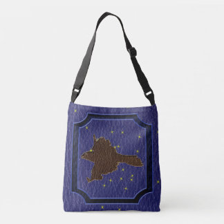 Leather-Look Native American Zodiac Falcon Crossbody Bag