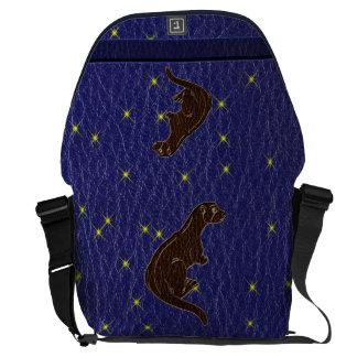 Leather-Look Native American Zodiac Otter Messenger Bag