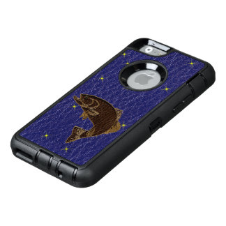 Leather-Look Native American Zodiac Salmon OtterBox Defender iPhone Case
