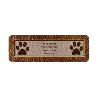 Leather-Look Paw Return Address Label