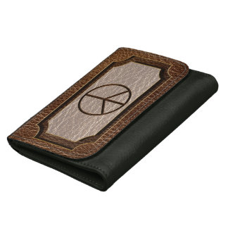 Leather-Look Peace Brown Wallet
