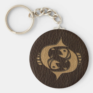 Leather-Look Pisces Basic Round Button Key Ring