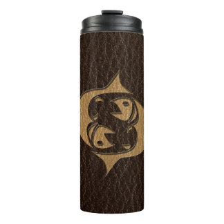 Leather-Look Pisces Thermal Tumbler