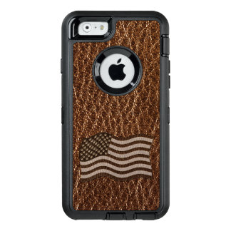 Leather-Look USA Flag OtterBox Defender iPhone Case