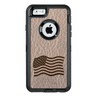 Leather-Look USA Flag Soft OtterBox Defender iPhone Case