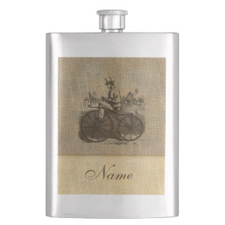 Leather look wintage classy old bike personalized hip flask
