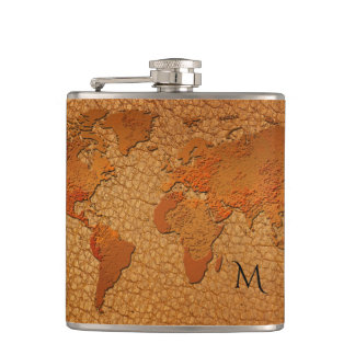 Leather Look World Map Flask