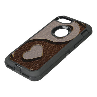 Leather-Look Yin Yang Heart Dark OtterBox Defender iPhone 8/7 Case