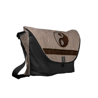 Leather-Look Yin Yang Heart Soft Courier Bags
